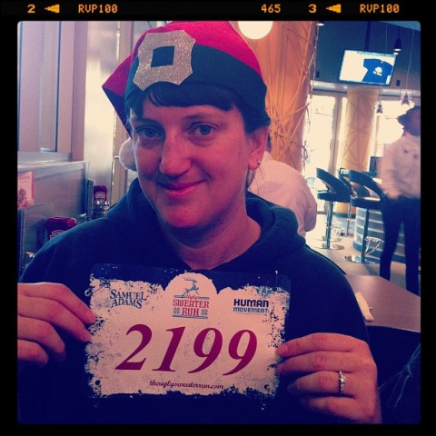 Santa hat and race number!